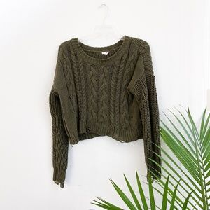 garage / distressed olive green cable knit sweater